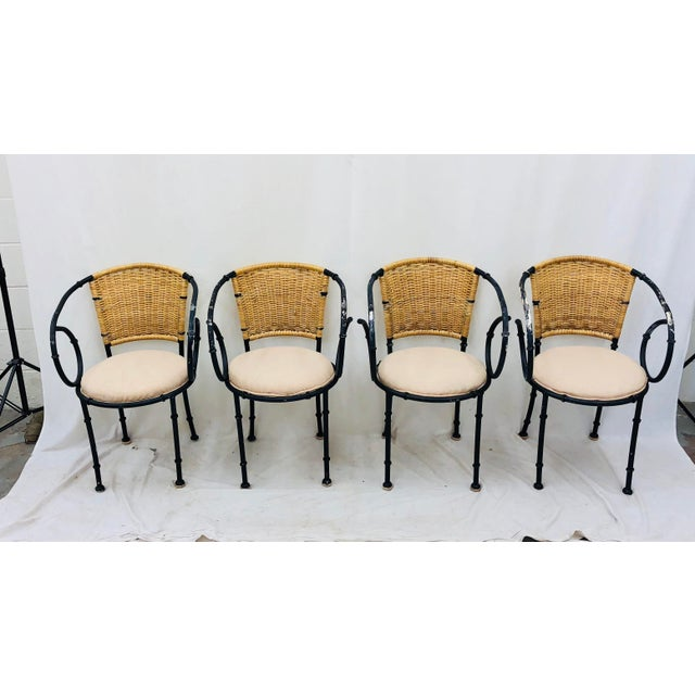 Vintage Metal & Wicker Bistro Chairs For Sale - Image 11 of 13
