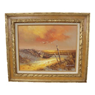 Mid-Century Seascape Oil on Canvas Painting For Sale