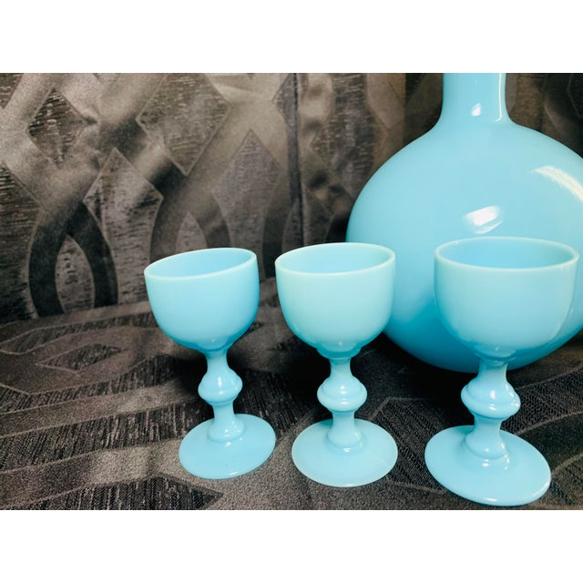 Baby Blue 1930s Antique French Blue Opaline Decanter and Cordial Goblets Glassware Portieux Vallerysthal - Set of 7 For Sale - Image 8 of 13