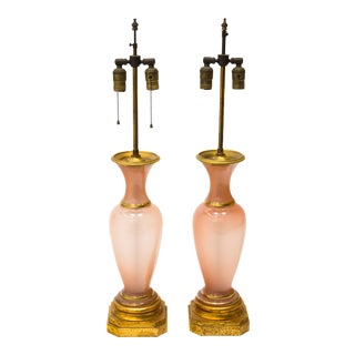 Pair of Opaline Table Lamps For Sale