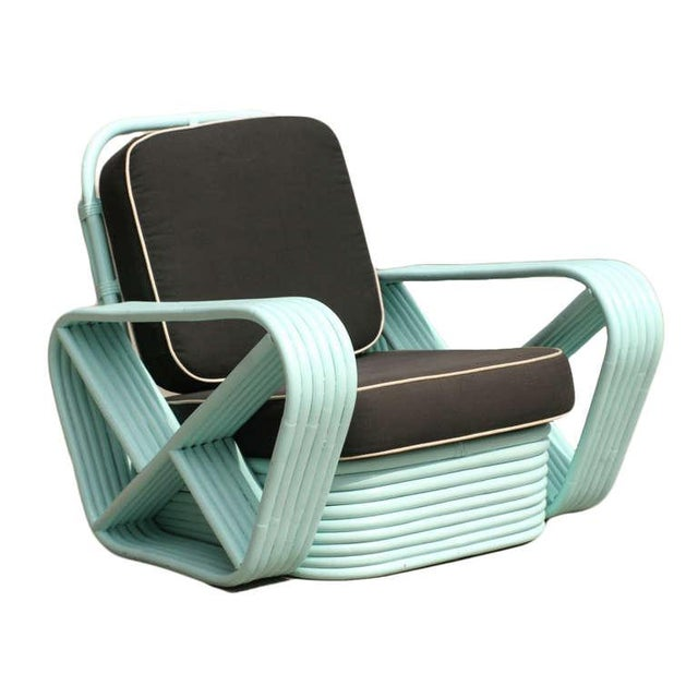 Restored Teal Square Pretzel Stacked Rattan Armchairs in Style of Paul Frankl For Sale In Los Angeles - Image 6 of 7