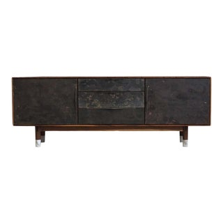 "Modern Wabi Credenza in Walnut, Alabaster & Patinated Brass by Ordinal Indicator - 96"" Long For Sale"