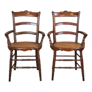 Antique Victorian Carved Walnut Parlor Arm Chairs - a Pair For Sale