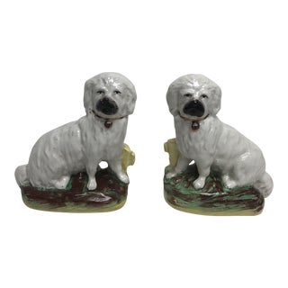 Staffordshire Seated Dog Figurines - a Pair For Sale