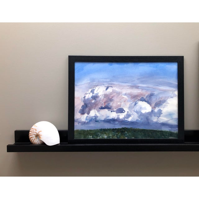"""Contemporary Contemporary Landscape Plein-Air Watercolor Painting, """"Cloud Study From Magnuson"""", by Artist David O. Smith For Sale - Image 3 of 11"""
