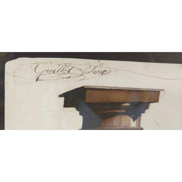 White Neoclassical Architectural Watercolor Study of Shadows on Columns For Sale - Image 8 of 8
