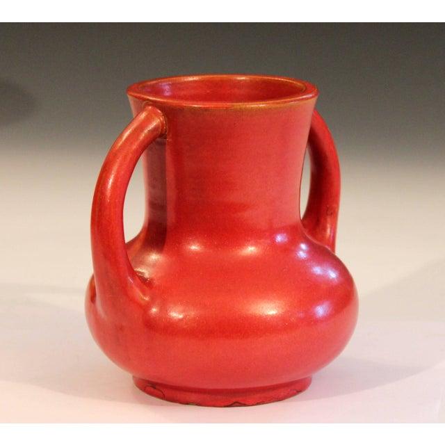 Art Deco Awaji Pottery Japanese Art Deco Vase Crystalline Chrome Orange Red Glaze For Sale - Image 3 of 11