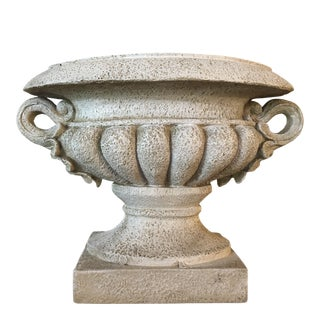 2002 Bombay Faux Concrete Urn With Handles For Sale