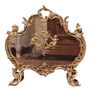 19th Century French Louis XV Carved Bronze Doré Fireplace Screen With Cherubs For Sale