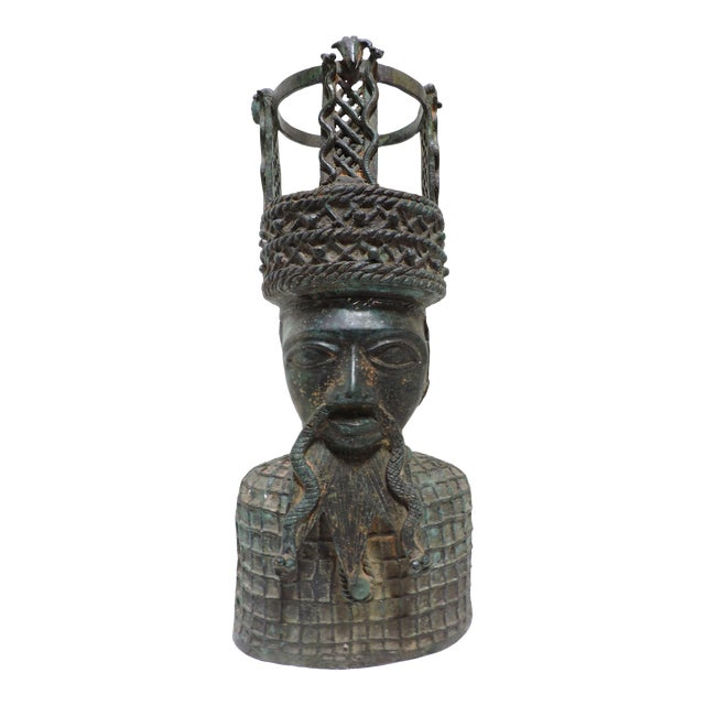 Cast Bronze Bust of Benin Chief, Africa For Sale