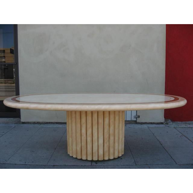 This luxurious large oval dining table was designed by J.C. Mahey, a french furniture and lighting designer noted for his...