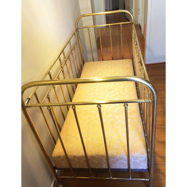 Vintage French Solid Brass Baby Crib For Sale - Image 4 of 11