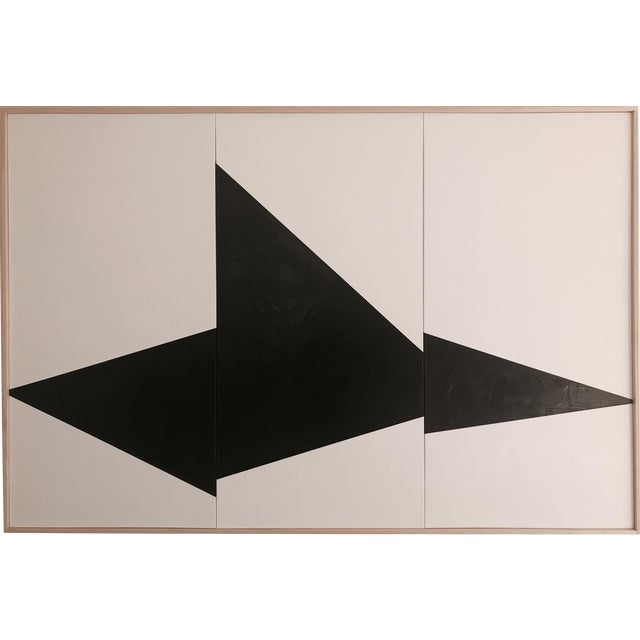 "Jason Trotter Original Acrylic Painting ""Black on Point Triptych Jet0462"" - Image 1 of 4"