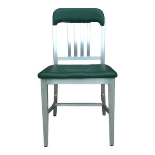 Vintage GoodForm Aluminum Chairs Green Leather For Sale