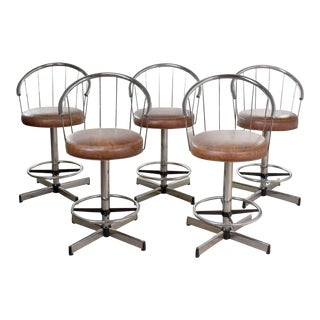 5 Cosco Vintage Modern Chrome Bar or Counter Stools W/ Brown Vinyl Faux Leather Seats For Sale