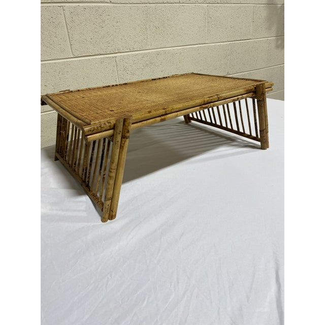 """Vintage Burnt Bamboo """"Breakfast"""" Tray Stand For Sale - Image 12 of 12"""