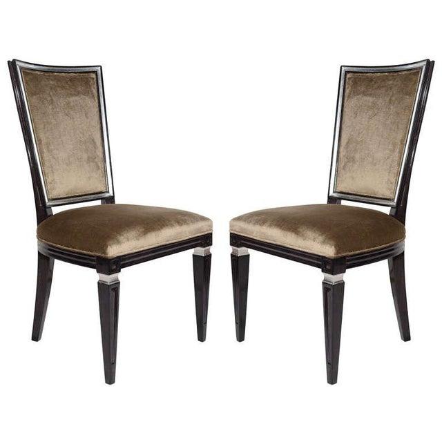 Wood Pair of Elegant Hollywood Regency High Back Chairs in Velvet For Sale - Image 7 of 7
