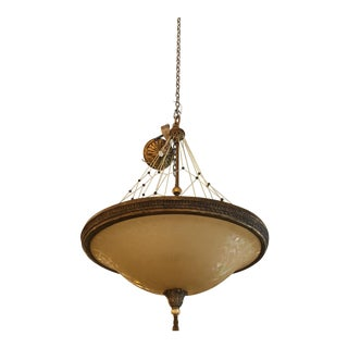 Etched Glass & Brass Pendant Light