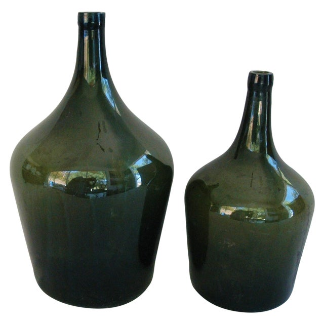 French Handblown Demijohn Bottles - Pair - Image 1 of 5