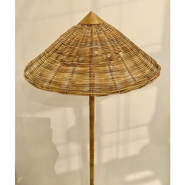 Stylish Celerie Kemble for Arteriors Boho Chic Terrace Rattan and Wicker Floor Lamp, showroom floor sample, original...