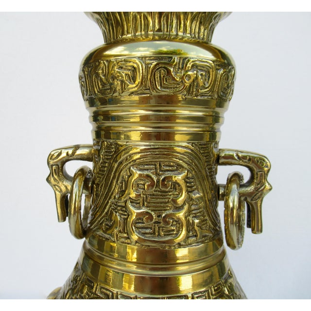 Brass C1950s-70s Hollywood Regency Era, James Mont-Style Asian Antique Bronze Lamp For Sale - Image 8 of 13