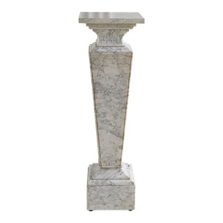White Carrara Marble Pedestal With Rotating Top For Sale