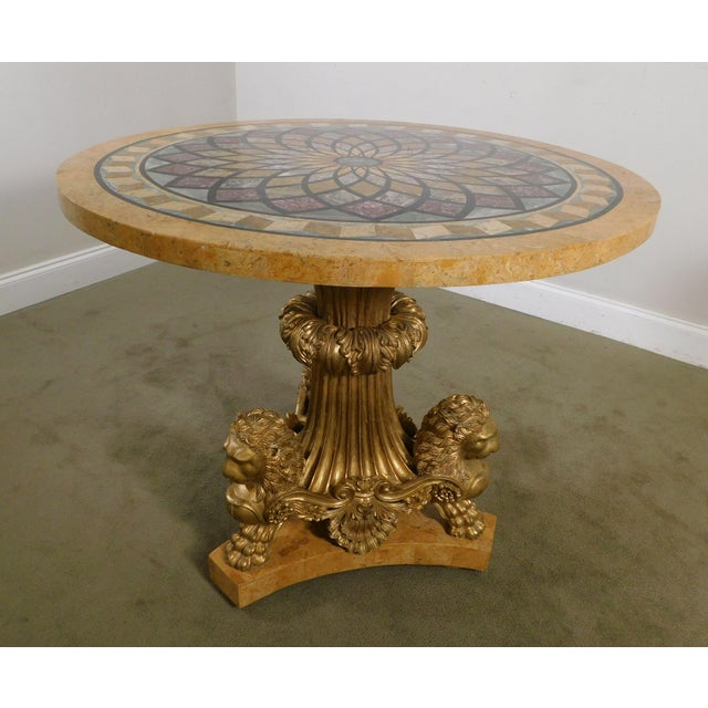 Maitland - Smith Neo-Classical Style Gilt Lion Carved Center table Round, Mosaic Tessellated Stone top For Sale - Image 4 of 13