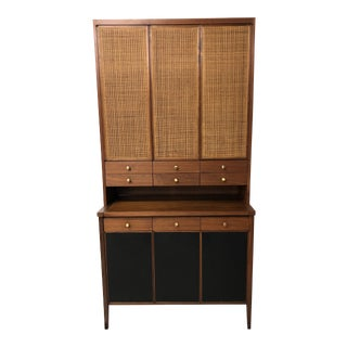 Paul McCobb Connoisseur Collection Mahognay Cane and Leather Secretaire Cabinet or Bar For Sale