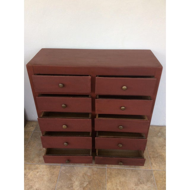 1960s 1960s Shabby Chic Wooden 10-Drawer Cabinet For Sale - Image 5 of 8