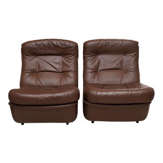 Airborne International Leather Lounge Chairs - A Pair For Sale