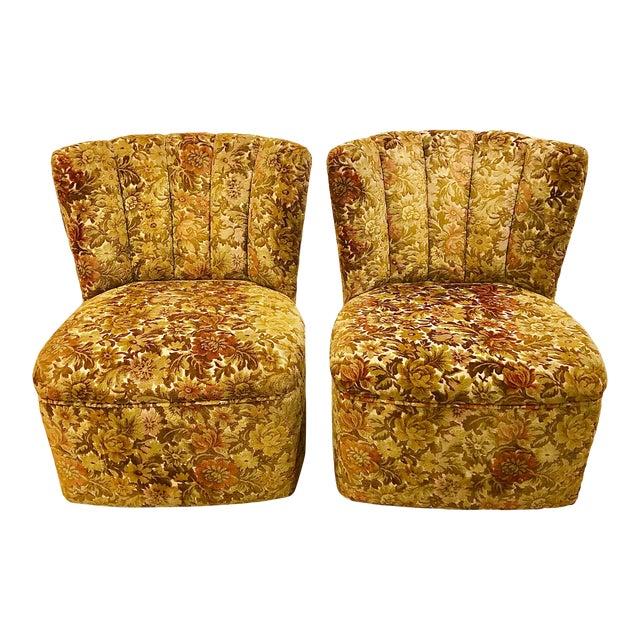 1960s Vintage Velvet Slipper Chairs - a Pair For Sale