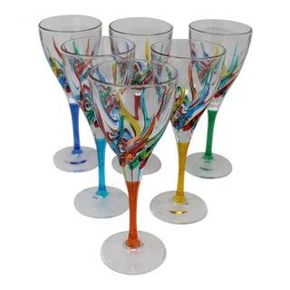 Striped Venetian Murano Glass Wine Stemware - Set of 6 For Sale