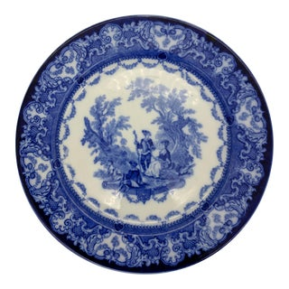 "Early 20th Century English Royal Doulton ""Watteau"" Blue Flow Plate For Sale"