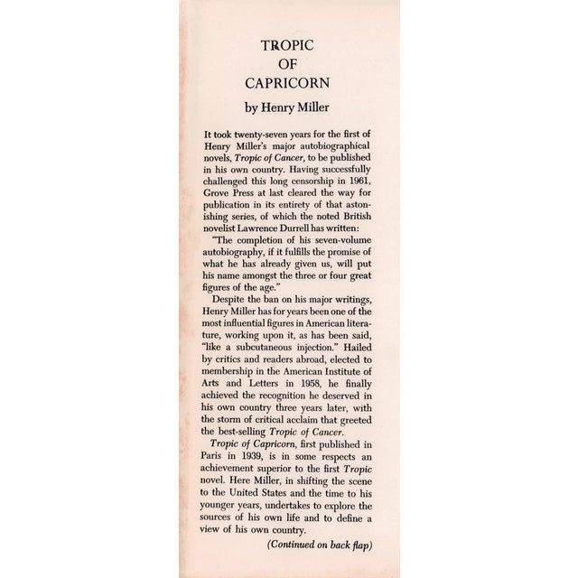 "Booth & Williams 1961 ""Tropic of Capricorn"" Collectible Book For Sale - Image 4 of 5"