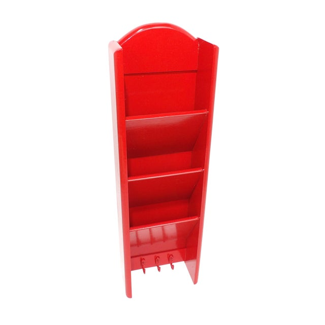 Mid-Century Modern Red Mail Key Slot Organizer For Sale