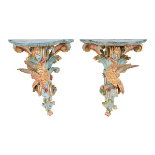 18th Century Italian Rococo Pine Wall Brackets - a Pair For Sale