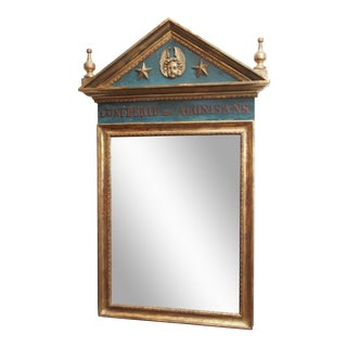 Polychrome and Gilt Pediment Form Mirror For Sale