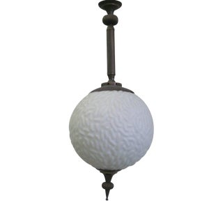 2 Italian Mid-Century Modern Neoclassical Dimple Glass Ball Pendant/ Flush Mount