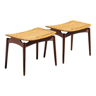 Danish Modern Teak and Cane Ottomans by Omann and Son - a Pair For Sale