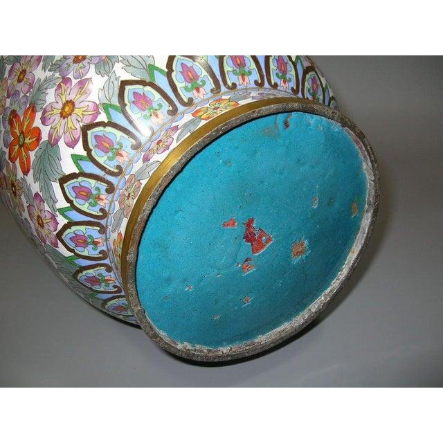 Green Large Vintage Chinese Millefleur Cloisonne Vase For Sale - Image 8 of 9