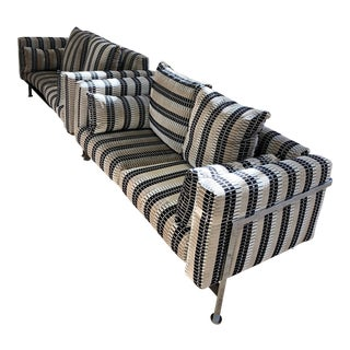 Mid 20th-Century Robert Haussmann Stendig Atlas Loveseat in Romo Multi Pile Velvet Fabric - a Pair For Sale