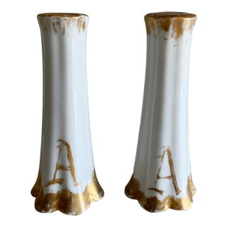 Antique 'A' Initial Salt and Pepper Shakers - a Pair For Sale