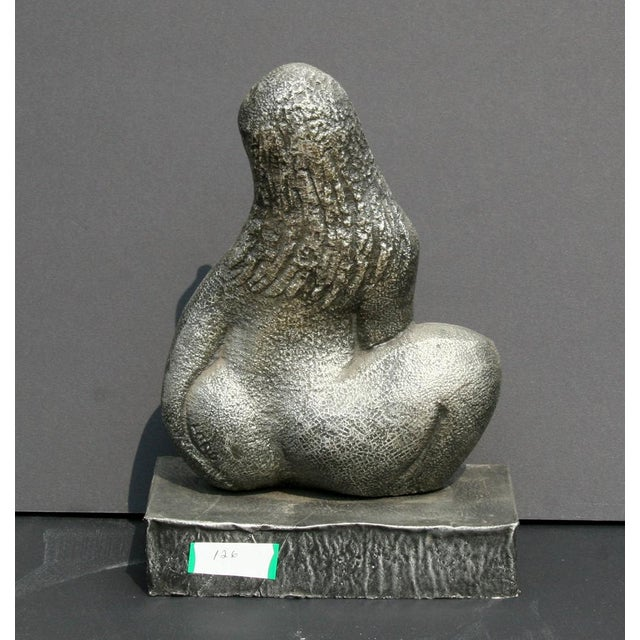 Mid-Century Modern Seated Woman, Cast Metal Sculpture by Michael Lord For Sale - Image 3 of 4
