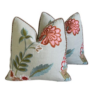 """Embroidery Floral & Silk Feather/Down Pillows 21"""" Square - Pair"""