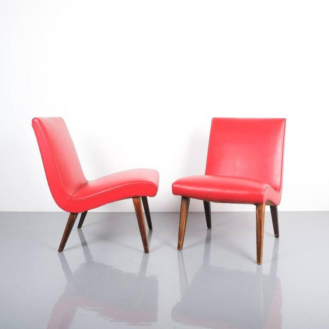 Plastic Pair of 1950s Jens Risom Red Vinyl Faux Leather Chairs For Sale - Image 7 of 7