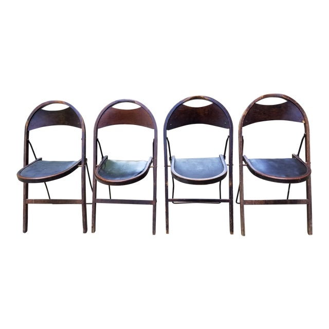 Antique Stakmore Folding Wooden & Leather Chairs - Set of 4 For Sale