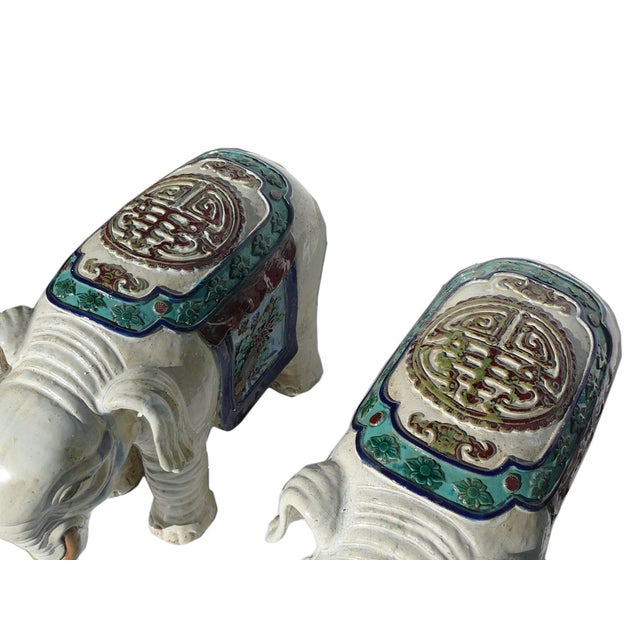 Ceramic Off White Oriental Elephant Figures - Pair For Sale - Image 4 of 7
