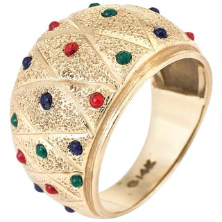 Enamel Dome Cigar Band Ring Vintage 14 Karat Yellow Gold For Sale