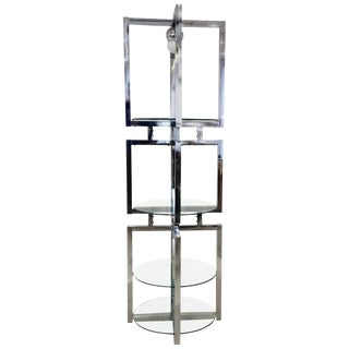 1950s Mid Century Modern Milo Baughman Round Geometric Chrome Glass Etagere For Sale