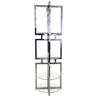 1950s Mid Century Modern Milo Baughman Round Geometric Chrome Glass Etagere